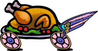 a turkey dinner on wheels